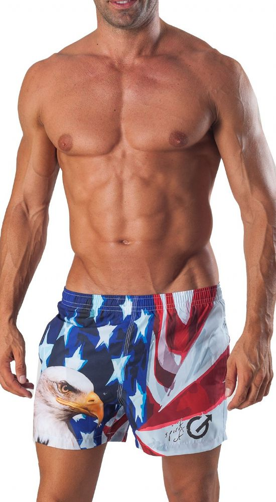 Men's Luxury Swimming Shorts White American Style Bird 1532p1